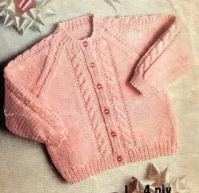 Vintage Knitting Pattern for Babies CABLED Cardigan 4 ply