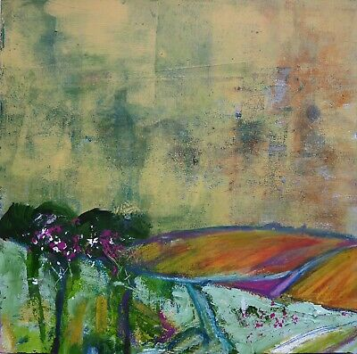 """Original Small Modern Expressive Abstract Landscape Painting on Board 10"""" x 10"""""""