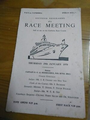 P & O s.s. Canberra 29 January 1970 Race Meeting Card