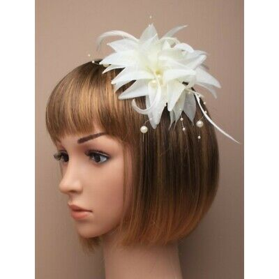 Ivory Cream Flower Pearl Feather Bridal Bridesmaid Ascot Fascinator Clip Brooch