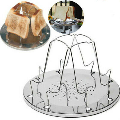 4 SLICE FOLDING TOASTER CAMPING FISHING For GAS HOB COOKER FIRE STOVE TOAST CAMP
