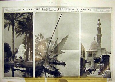Original Old Antique Print Egypt River Nile Scenery Boat Palm Temple 1913 20th