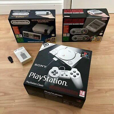 Playstation Classic, SNES & NES Classic Mini Consoles With Extras Brand New