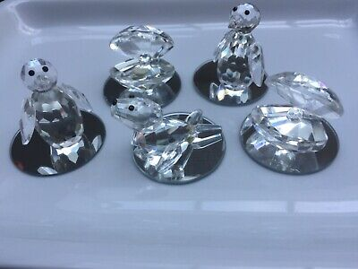 Crystal Cut Glass Animals - Sea Life Collection (5 items) Penguin, Seal, Oyster