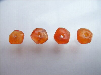 4 Ancient Neolithic Faceted Carnelian Beads, Stone Age, VERY RARE !!