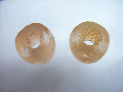 2 Ancient Neolithic Rock Crystal Beads, Stone Age TOP!  RARE !!