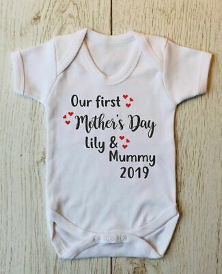 Our First Mother's Day 2019 Personalised 1St Mummy Mom Baby Body Vest Gift Idea