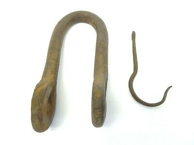 Forged Iron Metal Old Antique Loop Hook Hanger Parts Hardware Architectural Used