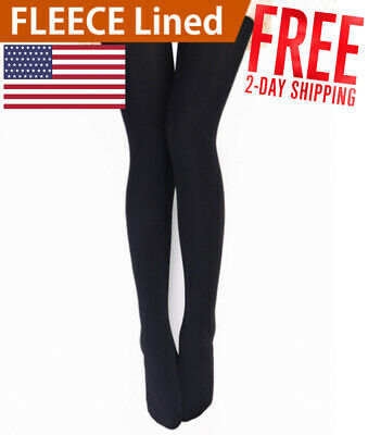 8ccbc25a4fdd5 NEW Women Ladies Black Opaque Winter Warm Thermal Fleece Lined Thick Tights  USA