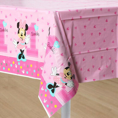 MINNIE MOUSE 1ST BIRTHDAY PARTY SUPPLIES TABLE CLOTH TABLE COVER