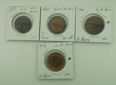 Great Britain 1/2 Penny 4 coin lot  1861 1877 1900 1912  Lot13119.10