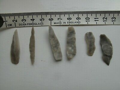 Palaeolithic microliths (Six) - probably from Kent some inscriptions