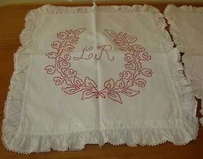 2 Antique Linen Turkey Red Embroiderred Ruffled Pillow Shams - Matching