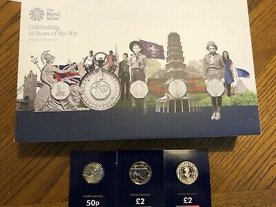 Celebrating 50 Years of 50p 2019 UK Silver Proof Coin Set Kew Gardens + Extras