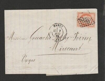 France 1872 cover with sharp Nancy numeral 2598 cancel