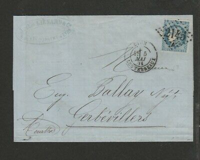 France 1874 cover with sharp Lyon numeral 2145 cancel