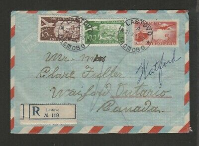 Yugoslavia 1953 registered airmail pse uprated to Canada - RPO backstamps