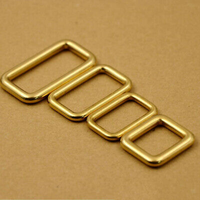 Strap Keeper Brass Metal Rectangle Buckle Leather Bag Purse Belt Ring Loops