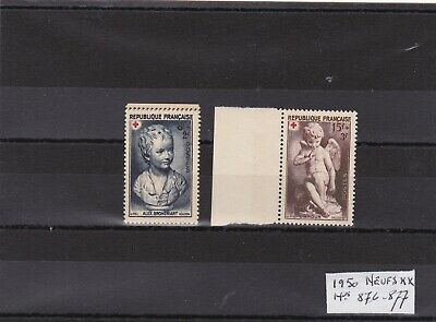 FRANCE  ANNEE 1950 - TIMBRES CROIX ROUGE Nos 876 et 877 NEUFS ** LUXE .