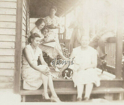 family on the porch with Sleepy BOSTON TERRIER dog* old Photo
