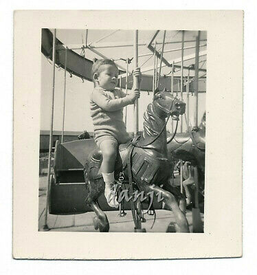 little boy alone on a CAROUSEL HORSE* 1941 CARNIVAL Photo