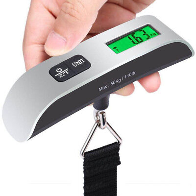 Portable Balance LCD Electronic Digital Hook Hanging Luggage Scale Weight 110lb~