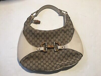 Authentic Gucci GG Canvas Horse Bit Bamboo GG Canvas Leather Purse shoulder  Bag d593848a01984