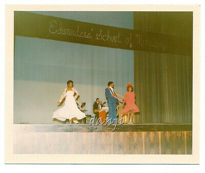 stage with BLACK MODELS+BAND under EDWARDS SCHOOL OF MODELING sign* 1975 Photo