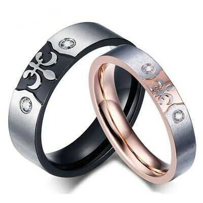 Alliance Ring Ring Pink Gold Black Wedding Flower Lily Templar Medieval Couple