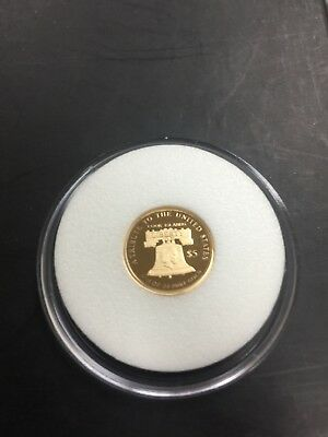 2018 Cook Islands 1/10 Oz $5 American Statue Of Liberty .24 Pure Gold Coin