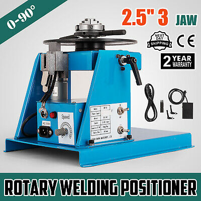 """UK 230V Rotary Welding Positioner Turntable Table 2.5"""" 3 Jaw Lathe Chuck 2-20RPM"""