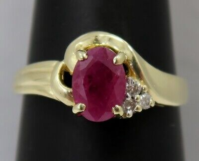 Ladies ~ Solid 14K Yellow Gold ~ RUBY & DIAMOND ~ Very Pretty Ring ~ Size 5.5