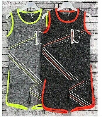 Boys Girls Kids Basketball Sport Summer Set Vest T-Shirt with Shorts  2-14 Year