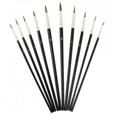 12Pointed Tip Artists Paint Brushes Narrow Thin Fine Painting Paintbrush Bristle