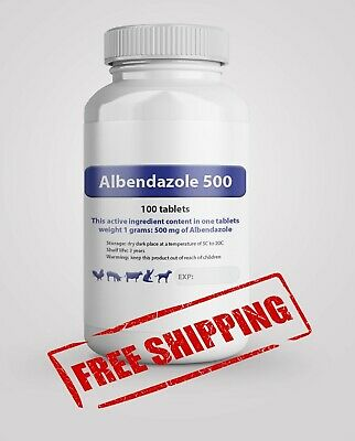 Albendazole 500 mg 100 Tablets De-Wormer Dog Cat Animals Treatment Anthelmintic