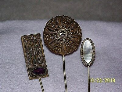 Vintage Lot Of Antique-Mother Pearl-Egyptian Figure-Amethyst Hat Stick Tie Pins