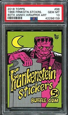 2018 Topps 80th Anniversary Wrapper Art #98 ~ 1966 Frankenstein /245 ~ PSA 10
