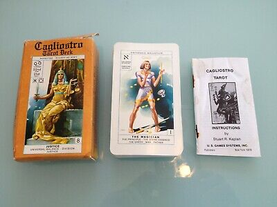 1981 Vintage CAGLIOSTRO Tarot Card DECK used RARE box instructions 78 cards