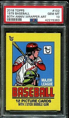 2018 Topps 80th Anniversary Wrapper Art #102 ~ 1979 Baseball /276 ~ PSA 10 GEM