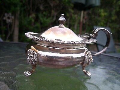 Silver Plated Mustard Pot with Lion Head/Mask Feet and Cobalt Blue Liner