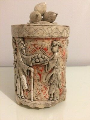 Antique Oriental Carved Marble/stone Lidded Pot Brush Holder. Longevity