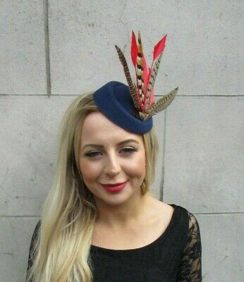Navy Blue Red Pheasant Feather Pillbox Hat Fascinator Races Hair Clip Ascot 7084