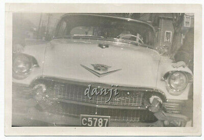 up close head-on view of a 1956 CADILLAC Car* abstract old Photo