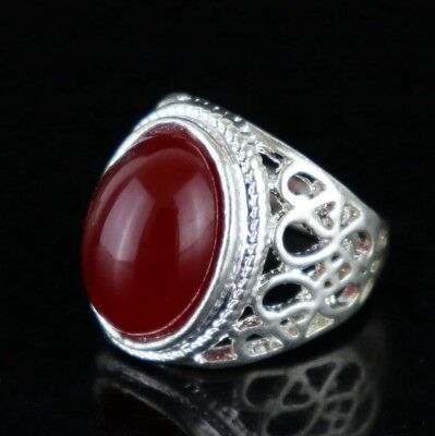 Collectable China Tibet Silver Carved Totem Inlay Agate Delicate Lady Decor Ring