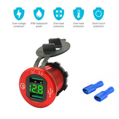 Motorcycle Boat Car Dual USB Fast Charger LED Voltmeter For Phone Tablet MA1803