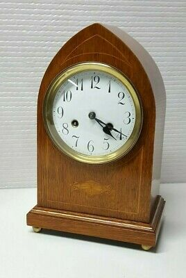 German Junghans Mahogany inlaid striking bracket clock