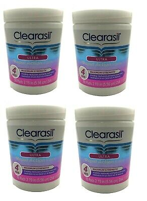 Clearasil Ultra Rapid Action Pads Maximum Strength 90 Count Lot of 4