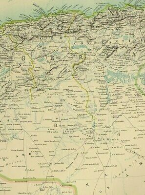 1900 Antique Map North West Africa Marocco Algeria Tunis Travellers Routes