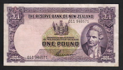 NEW ZEALAND P-159b. (1955-56) One Pound - Wilson. Prefix 011..  aVF