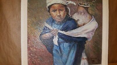 """Outsider Art Andes oil painting original Flores Salguera Andean 12"""" x 12"""""""